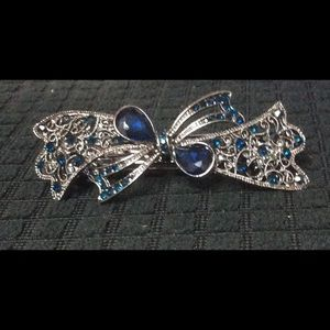"Vintage style 3"" Hair Barrette with blue stones"
